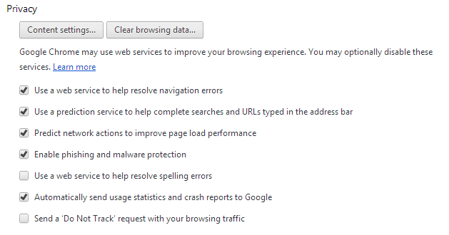 A screenshot of Do Not Track in web options