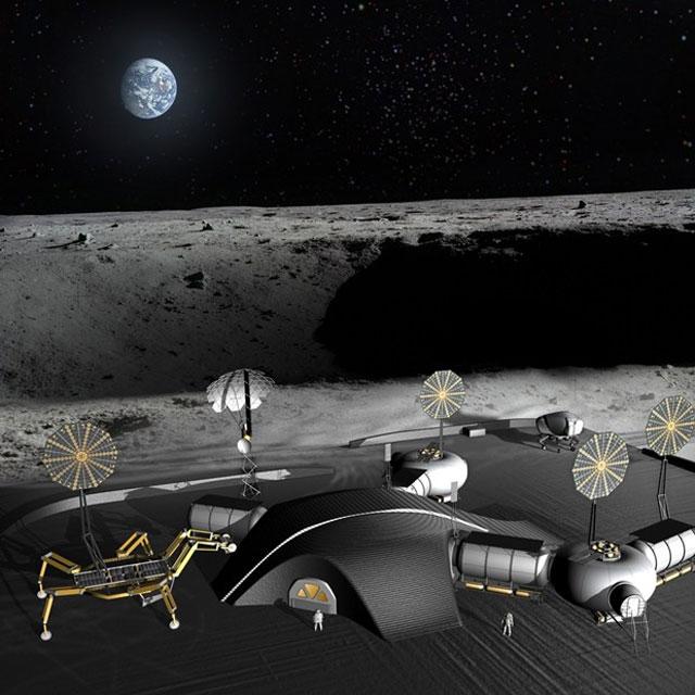 Giant Nasa Spider Robots Could 3d Print Lunar Base Ars