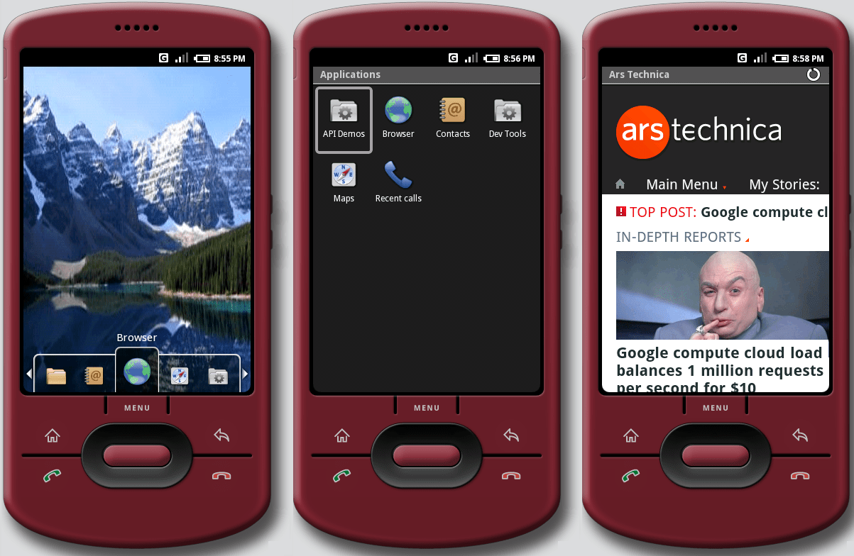 The new emulator skin that comes with Milestone 3, RC37a, which uses a more modern, all-touchscreen style.