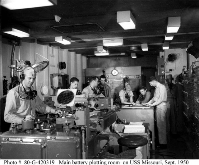 The Main Battery Plot room aboard the USS Missouri, where the Rangekeeper Mark 8 and its associated analog computing hardware was tended to. The switchboards on the wall controlled which turrets and guns were under the system's control.