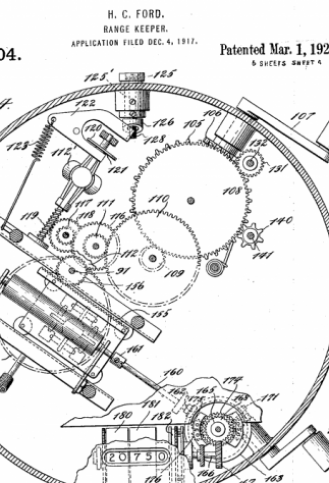 A patent drawing for the Range Keeper, Hannibal Ford's analog fire control computer. {focus_keyword} Before Silicon Valley got nasty, the Pirates of Analog Alley fought it out rangekeeper patent1