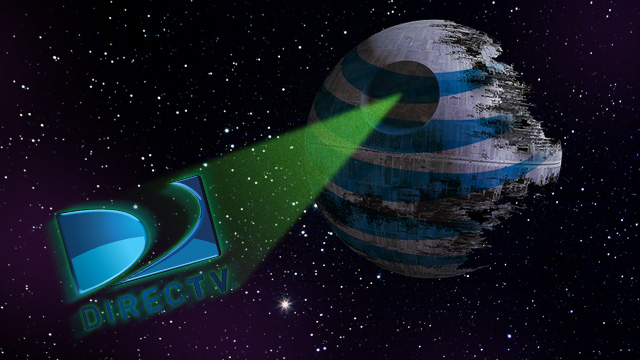 Star Wars-themed illustration of the AT&T and DirecTV logos.