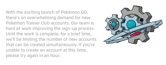 Creating a Pokémon account is one option, but the site is having problems right now.