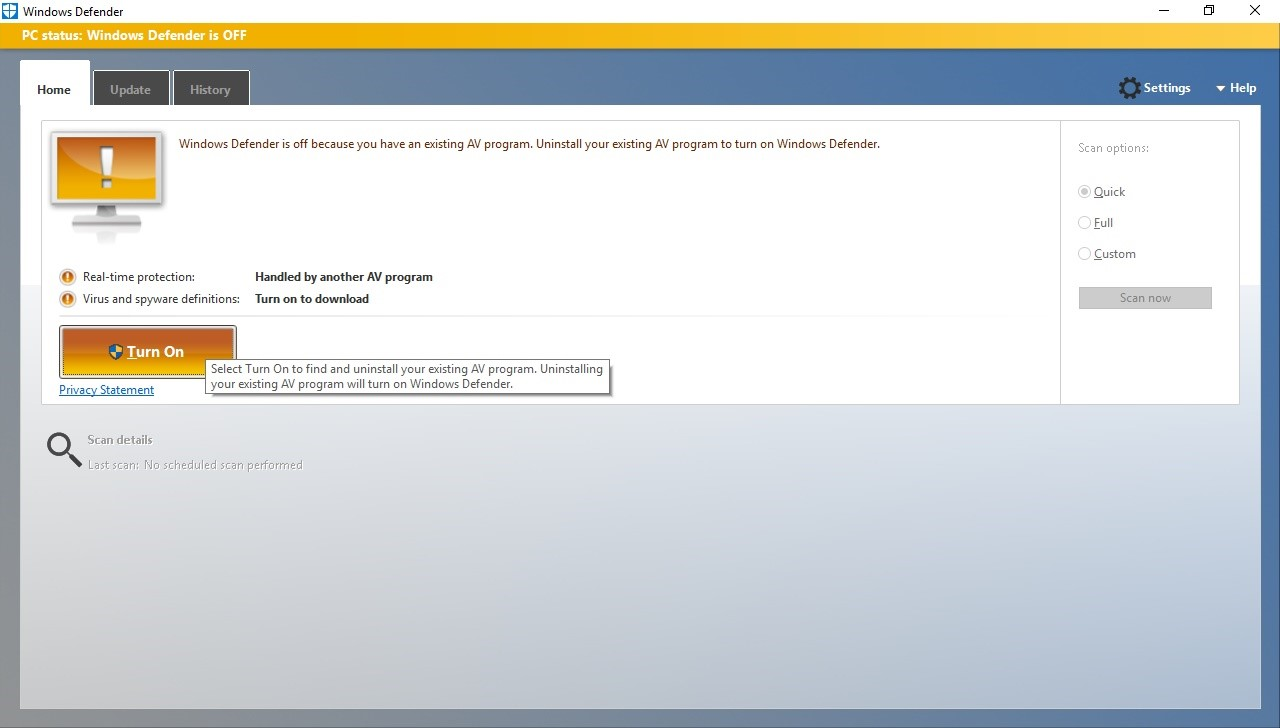Clicking that yellow button turns on Defender and disables third-party antivirus, even if the third-party antivirus is working correctly and up-to-date.