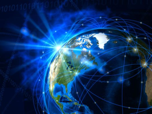 An illustration of the Earth, with lines circling the globe to represent a telecommunications network.