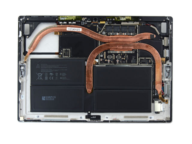Cracking open the Surface Pro reveals a giant heatsink and four battery cells instead of the two in the Pro 4.
