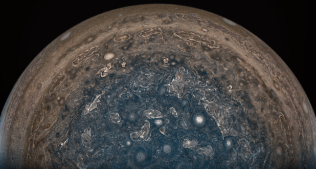 When JunoCam received this image on February 2, 2017, NASA's Juno spacecraft flew directly over Jupiter's South Pole.