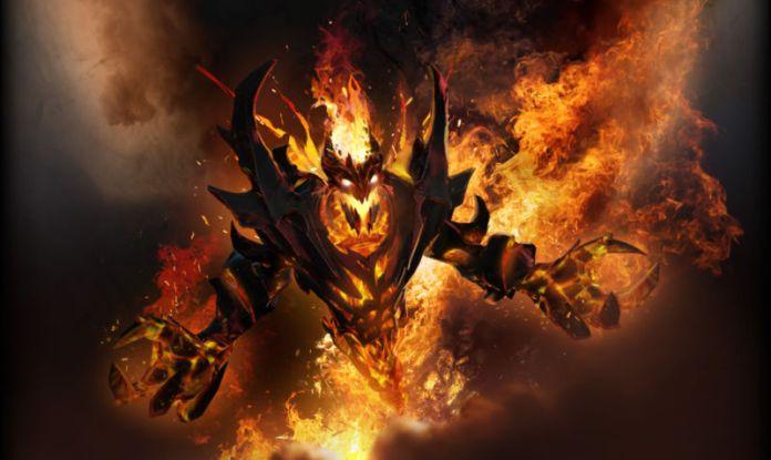 Screenshot eines feurigen Videospielmonsters.