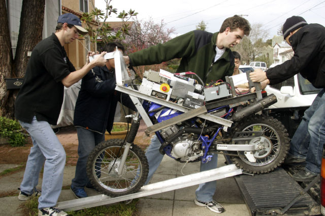 Anthony Levandowski (far left) seen here preparing for the DARPA Grand Challenge in 2004.