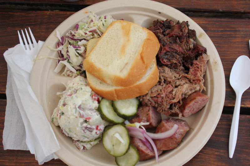 A platter of food with meat