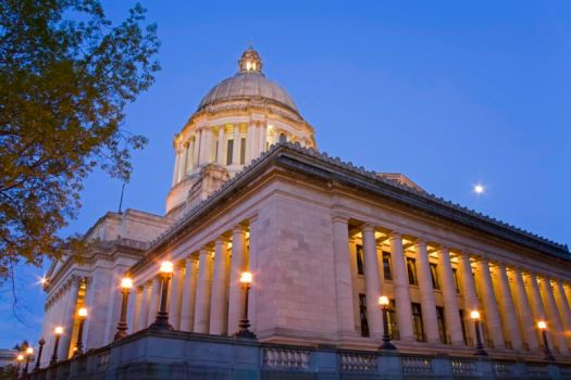 The outside of the Washington State Capitol building.