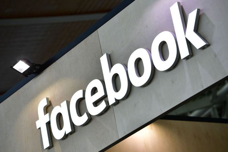 The Facebook logo is displayed at the 2018 CeBIT technology trade fair on June 12, 2018, in Hanover, Germany.