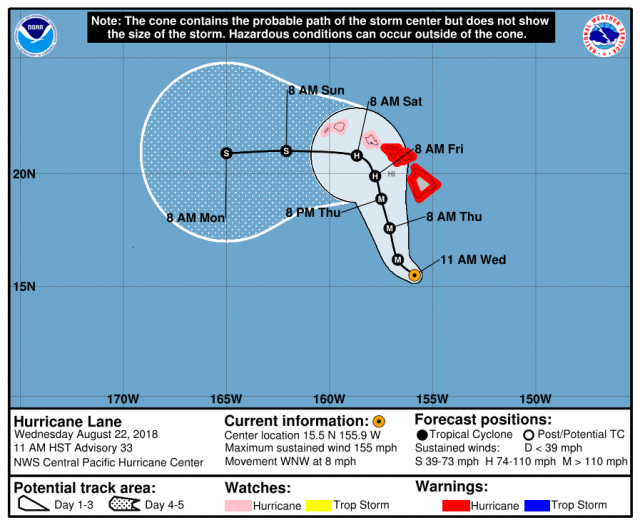Hurricane Lane official forecast track as of 5pm CT on Wednesday. (NOAA)