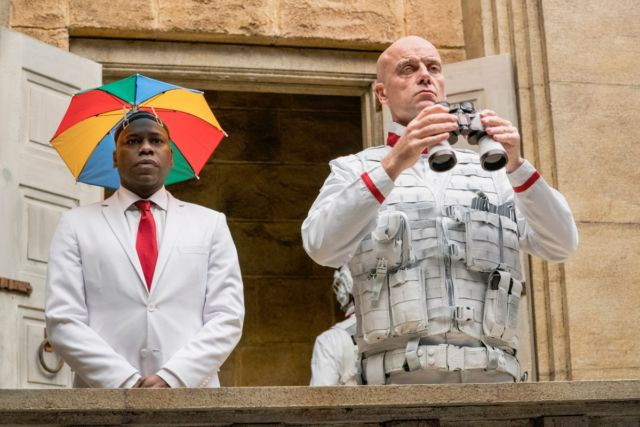 Grail operative Hoover (Malcolm Barrett) and Herr Starr (Pip Torrens) prepare for their showdown with Jesse.