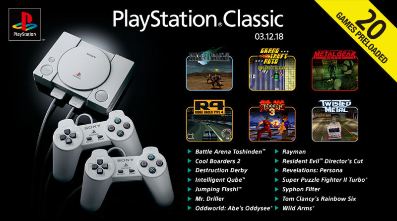 """The European PlayStation Classic has the same game selection as the American one, but it's the only one to get an official listing image today. Hence, the release date is listed up there as """"03-12-2018,"""" meaning, December 3rd."""