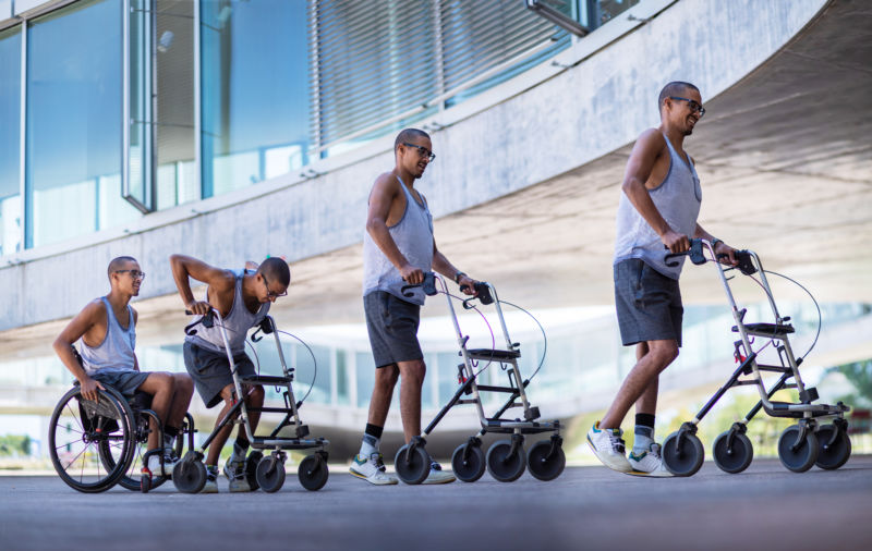 Multiple combined images of a man starting out in a wheelchair progressing to using a wheeled walker.