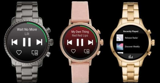 Spotify standalone Wear OS app on three Fossil smartwatch screens.