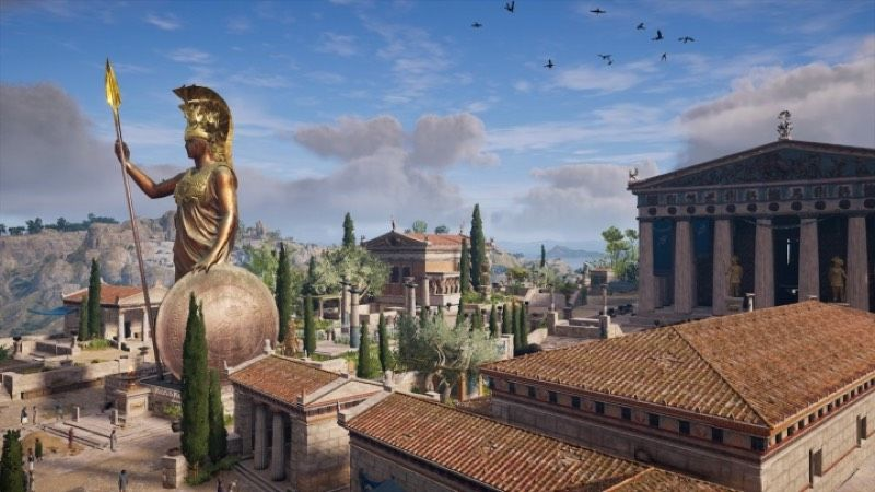 The view of the Athenian Acropolis in <em>Assassin's Creed: Odyssey</em> shows ancient Greece in all its colorful glory.