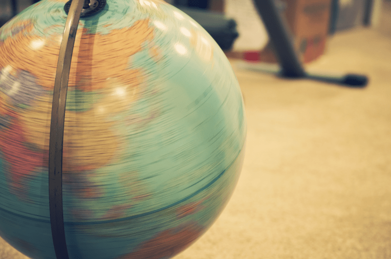 Photograph of a spinning globe.