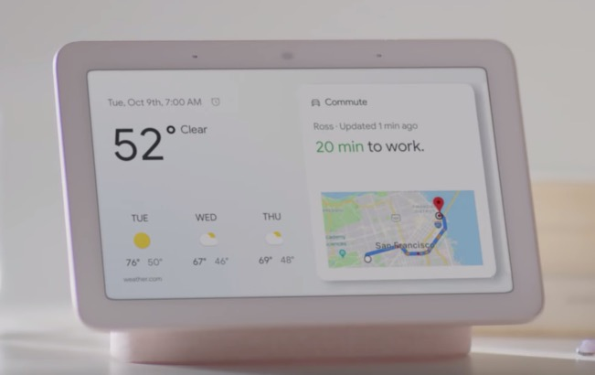 The Google Home Hub screen showing weather and directions.
