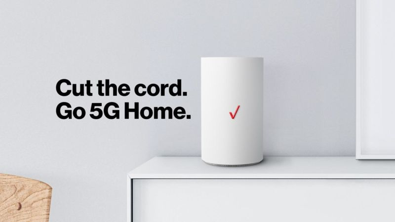 A Verizon router in a home along with text that says,
