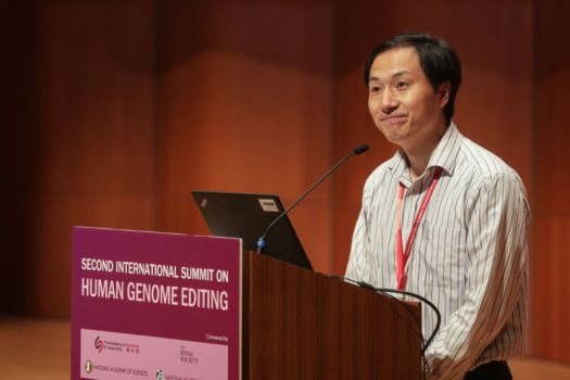 Chinese geneticist He Jiankui speaks during the Second International Summit on Human Genome Editing at the University of Hong Kong days after he claimed to have altered the genes of the embryo of a pair of twin girls before birth, prompting outcry from scientists of the field.