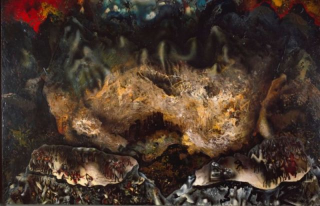 """<em>Collective Suicide</em> (1936), by Mexican muralist David A. Siqueiros, is an example of the """"accidental painting"""" technique developed by the artist."""