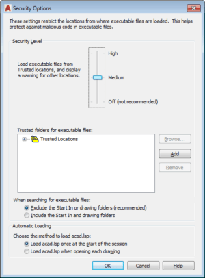 A security options box included in modern versions of AutoCAD.