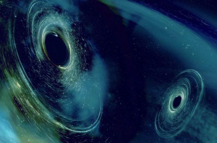 Artist's rendering of two merging black holes, producing telltale gravitational wave signatures that were picked up by the LIGO/VIRGO detectors..
