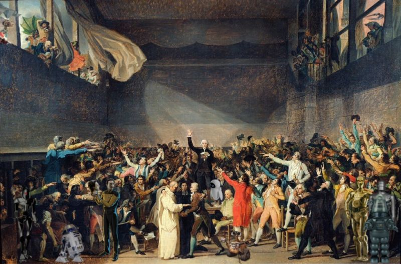 """Composite image based on Jacques-Louis David's unfinished painting, """"Drawing of the Tennis Court Oath"""" (circa 1790)."""