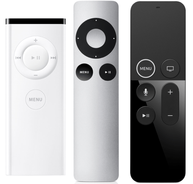 The evolution of the Apple TV remote.