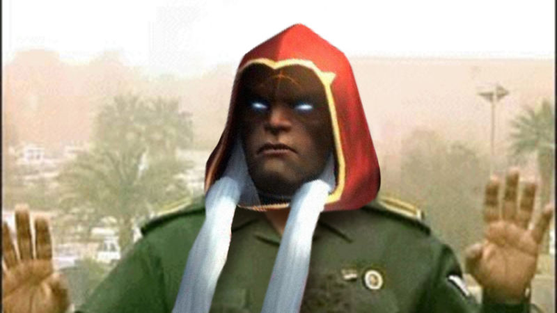 The hero of THQ Nordic's Darksiders series, as seen here fused with the Baghdad Bob meme, seems appropriate after today's THQ-8chan blow-up.