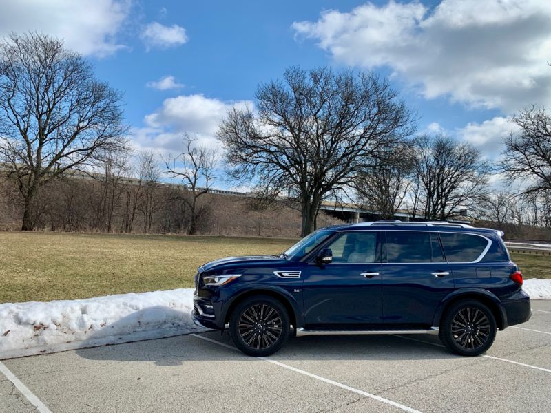 The Infiniti QX80 on a cold winter day.