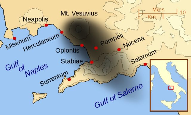Pompeii and Herculaneum, as well as other cities affected by the eruption of Mount Vesuvius. The black cloud represents the general distribution of ash, pumice and cinders.