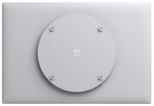 Surface Hub 2S from the back. The reason it's round? With a round case, there's no chance that rotation will snag on fingers, cables, etc.
