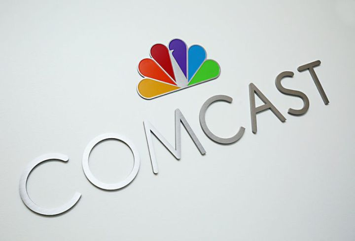 A Comcast sign at the Comcast offices in Philadelphia, Pennsylvania.