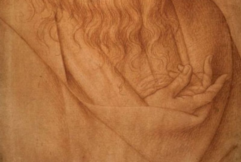 """Detail from a 16th century drawing depicting an elderly Leonardo da Vinci's damaged right hand. A new study concludes he suffered from """"claw hand."""""""