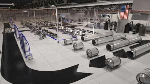 An artist's concept of what the interior of Relativity Space's Mississippi rocket factory may look like in a few years.