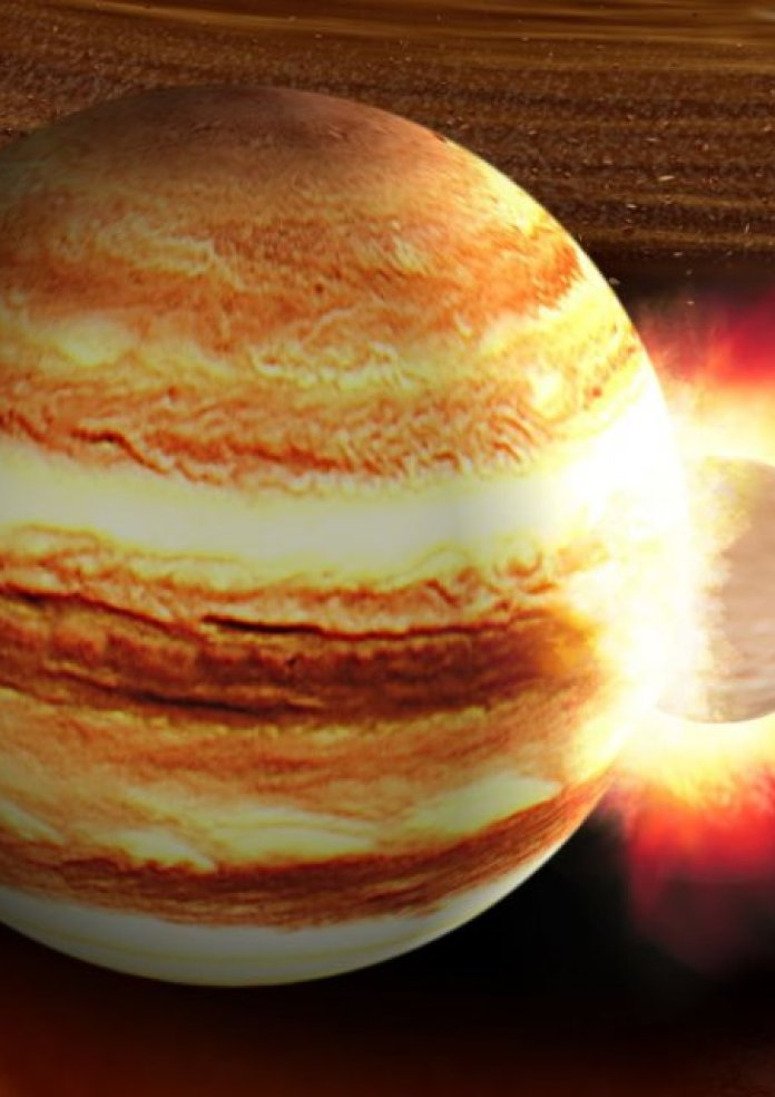 Image of an object smashing into Jupiter.