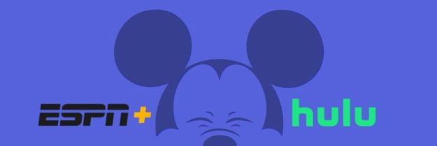 Image of Mickey Mouse with Hulu and Disney+ logos.