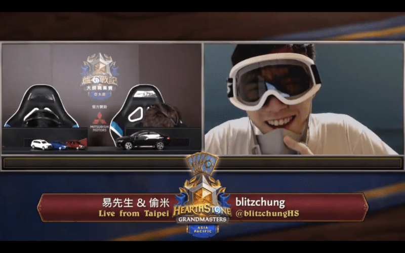 "Ng ""Blitzchung"" Wai Chung declares his support for Hong Kong while two announcers duck behind their desks."