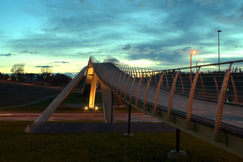 The Vebjørn Sand Da Vinci Project bridge in Ås, Norway, is based on a design by Leonardo Da Vinci.