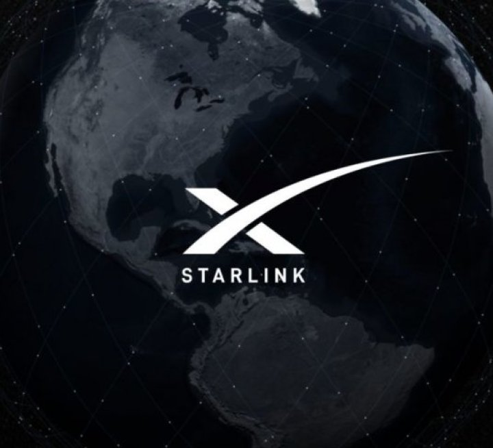 Illustration of the Earth with the logo of Starlink, the satellite broadband service planned by SpaceX.