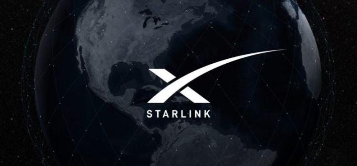 Starlink logo imposed on stylized image of the Earth.