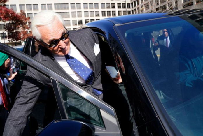 WASHINGTON, DC - NOVEMBER 15:  Former adviser to US President Donald Trump, Roger Stone departs the E. Barrett Prettyman United States Courthouse after being found guilty of obstructing a congressional investigation into Russia's interference in the 2016 election on November 15, 2019 in Washington, DC. Stone faced seven felony charges and was found guilty on all counts.
