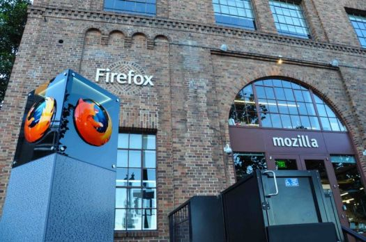 A Firefox logo is seen outside Mozilla's office in San Francisco.