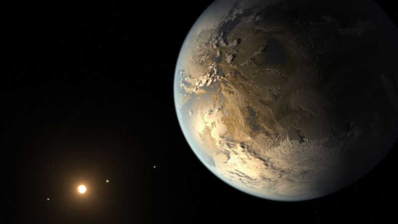 """Artist conception of Kepler-186f, the first Earth-size exoplanet found in a star's """"habitable zone."""""""