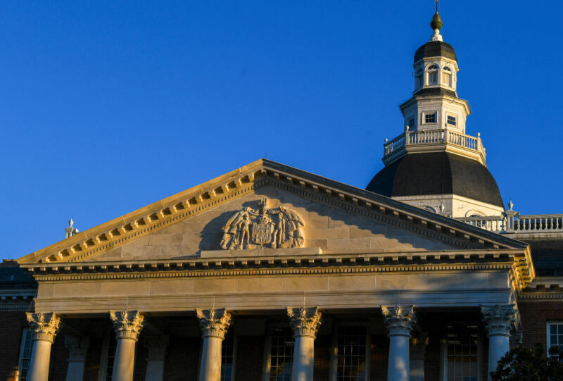 Low-angle photograph of Maryland's federal-style state house.