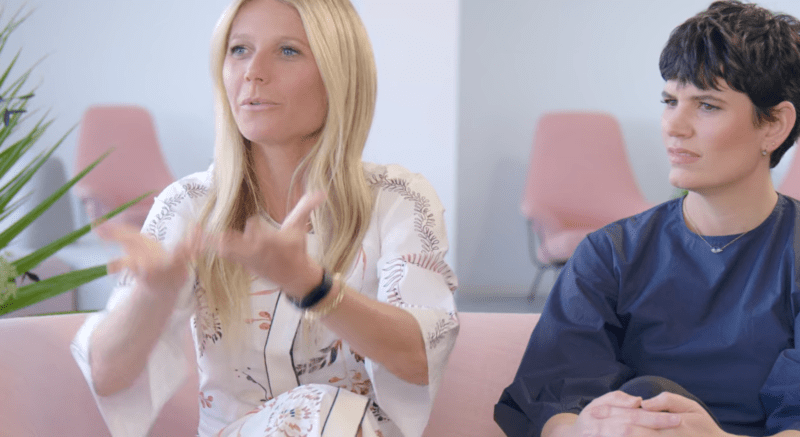 """This is the exact moment in <em>the goop lab</em>'s third episode in which Gwyneth Paltrow admits she doesn't know the difference between a vagina and a vulva. She's making a hand gesture to say what she thought the """"vagina"""" was."""
