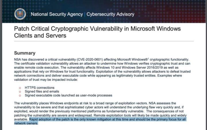 Screenshot of NSA warning.